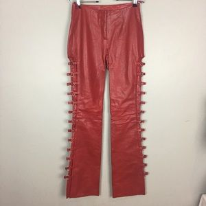 Wilson Leather Chap Pants Red Size 2